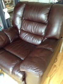 Leather reclining armchair
