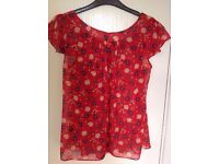 Red flower patterned M&Co size 10