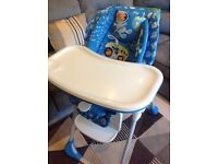 Chicco Polly 2 in 1 Baby Feeding Highchair Moon Adjustable Height Chair Folded Seat