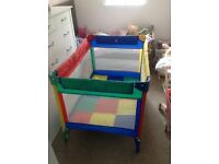 Fold away travel cot