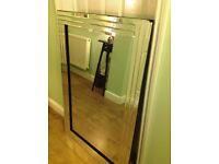 Large heavy modern bevelled glass mirror