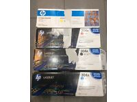 Genuine HP laserjet print cartridges, brand new x4, cyan, yellow, black and magenta