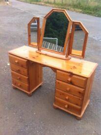 Lovely eight drawer solid pine dressing table/desk