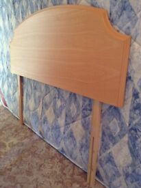 Solid wood double bed size headboard in teak coloured wood. Excellent condition.