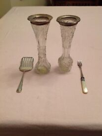Two Silver Topped Cut Glass Varses