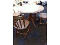 Solid bespoke wood table and 4 farmhouse chairs.