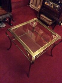 Brass coffee table with glass insert