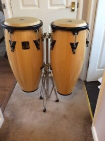 """LP ASPIRE WOOD CONGA SET 11"""" & 12"""" VINTAGE WITH DOUBLE STAND"""