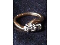 Stunning tri diamond twist ring