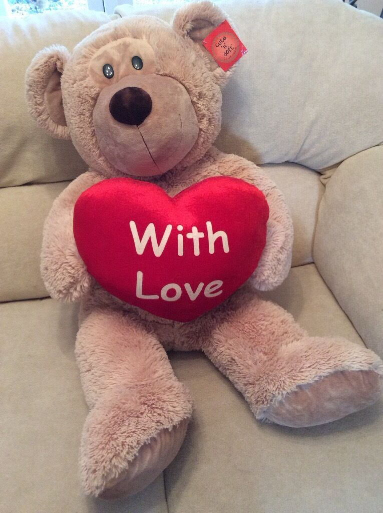 Giant teddy with heart - new with tag