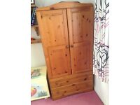 Pine Children's wardrobe with two drawers