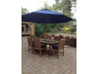 Quality Garden Table with granite inserts + 6 Chairs + Parasol **Delivery may be poss**