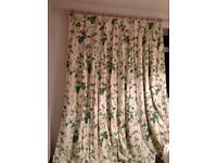 7ft Drop Curtain Set - Sanderson Lavinia Fern Fabric - Floral Print Curtain Set - Long Set