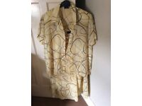 Alexon matching skirt and blouse in yellow and brown size 14/16