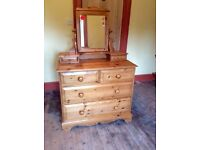 Really nice quality pine chest of drawers with mirrored dressing table and jewellery drawers on top