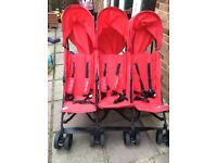 Nearly new triple buggy/pushchair