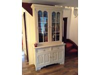 VINTAGE 2 DOOR DRESSER WITH FRAMED GLASS DOORS