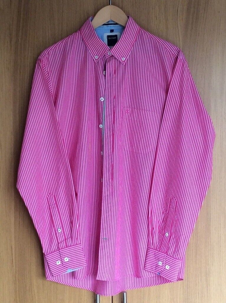 MENS PINK- RED STRIPED SHIRT By OLYMP. SIZE LARGE. BUTTONED COLLER.