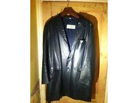 Blue Leather Warehouse Fingertip Length Coat Leather Jacket