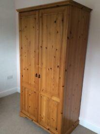 Solid pine bedroom set, wardrobe,drawers & single headboard