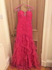 Fusia pink crystal fishtail mermaid evening dress gown size 8-10
