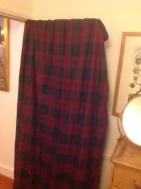 Curtains fully lined tartan pattern