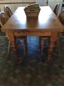 Farm house Pine table and chairs