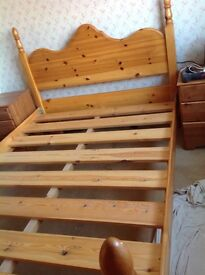 Pine Double Bed. Ideal as is or as a shabby chic project. Without mattress. Offers Accepted.