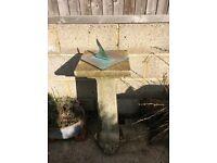 Concrete Garden Bird Bath and Sun Dial