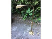 Brass standard lamp, shell shape shade