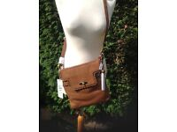 John Rocha brown leather messenger bag