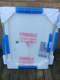 Job lot of 14 new/wrapped resin stone shower trays various sizes in white