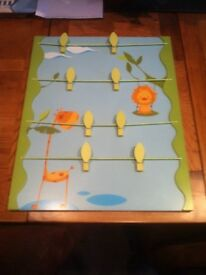Children's Peg Notice Board with Jungle Animals.