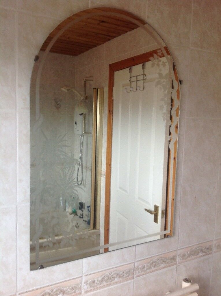 Shower door and bathroom mirror