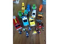 Bob The Builder, Postman Pat, Fireman Sam vehicles and figures.