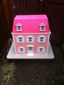 LARGE DOLLS HOUSE , HELLO KITTY , Accessories and Furniture , Also Stand / Base Included for house