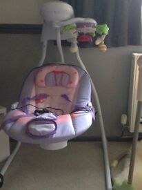 Musical light up baby swing with outdoor net like new