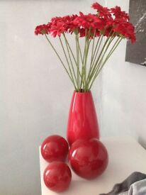 Red vase & flowers , also 3 red balls ( from next )