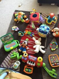 A mix of baby/ toddler toys