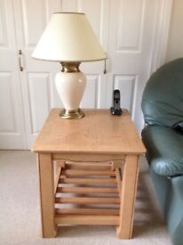 Side Lamp Table in light wood with storage shelf