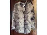 Three Wallis large (Euro 46) size chiffon style dress tops, unworn and nearly new, earthy tones