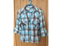Fashionable checked top/shirt Size S