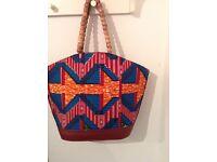 Handmade African Print Handbag with beaded handles