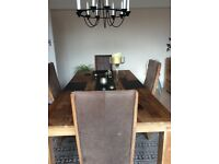 Dining table in mango wood & 4 suede upholstered chairs