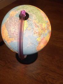 Illuminated Globe with black base