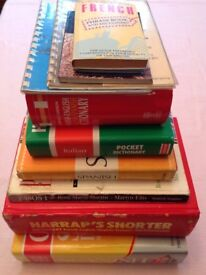 A collection of Spanish, French, Italian Dictionary's