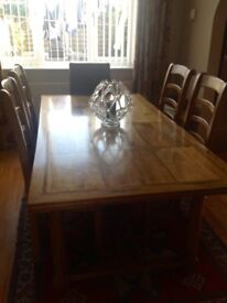 Flagstone dining table & 4 chairs, 1m x 1.9 m, excellent condition