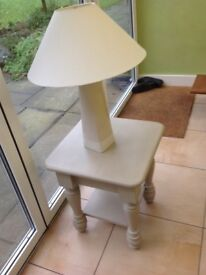 Solid pine beige lamp table