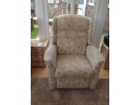 HSL Manual Recliner armchair. Perfect condition. Beige with small green and pink upholstery.