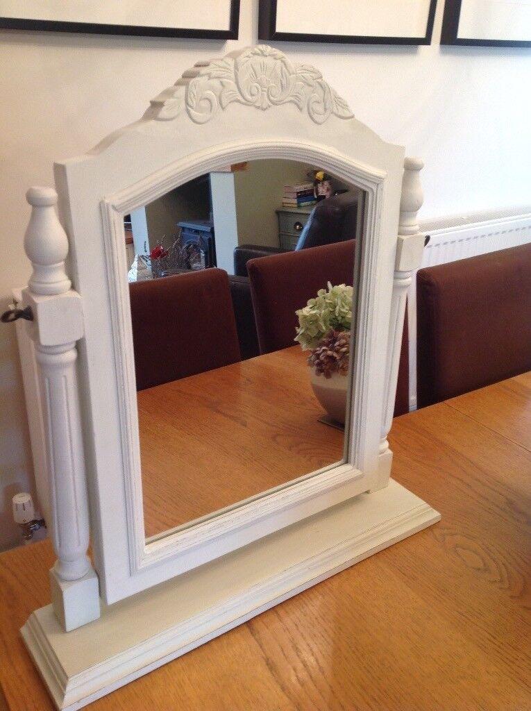Cream shabby chic style swing dressing table mirror